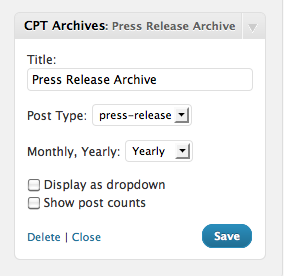 CPT Archive WordPress Widget